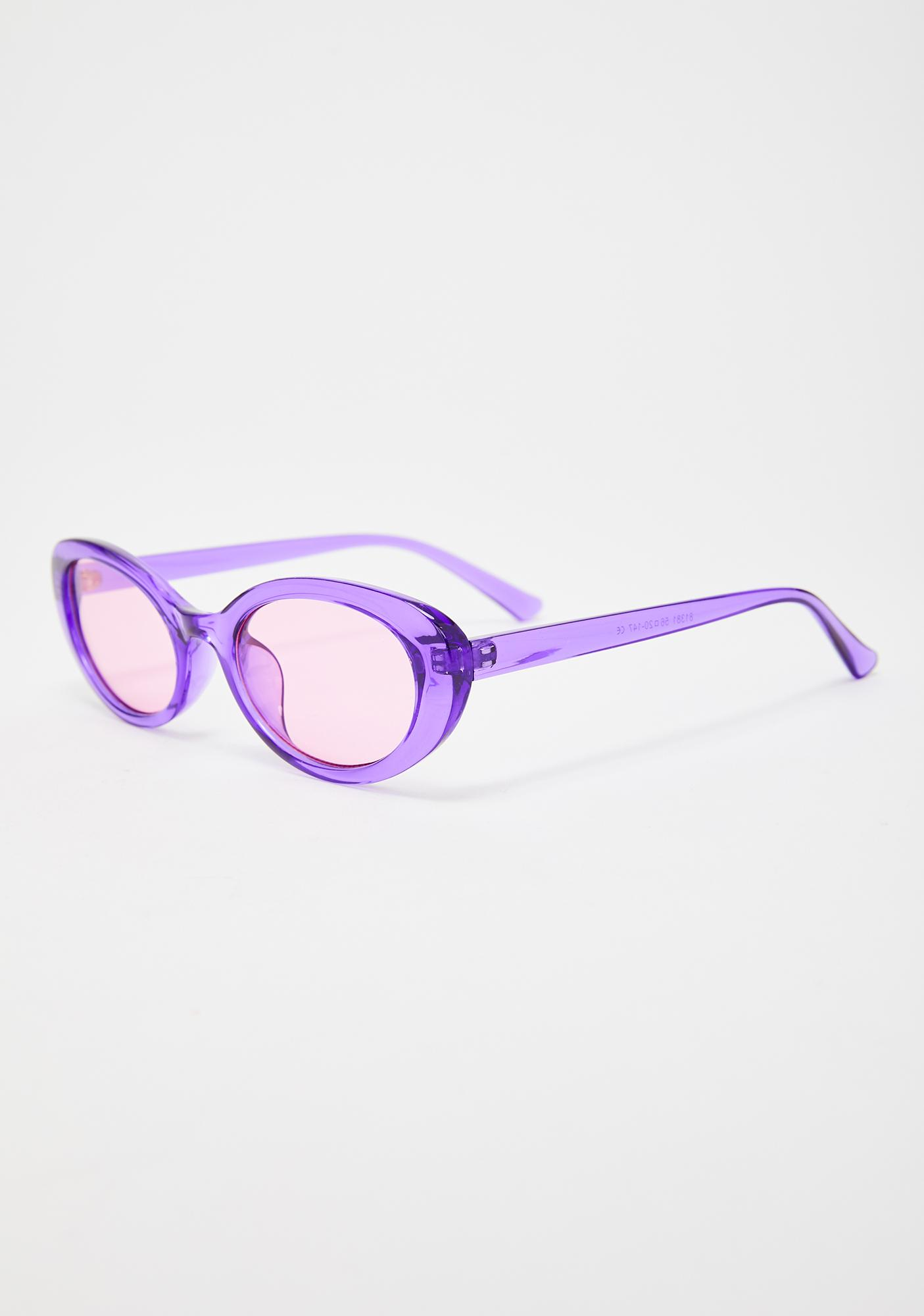 Grape Talk To The Hand Clear Sunglasses