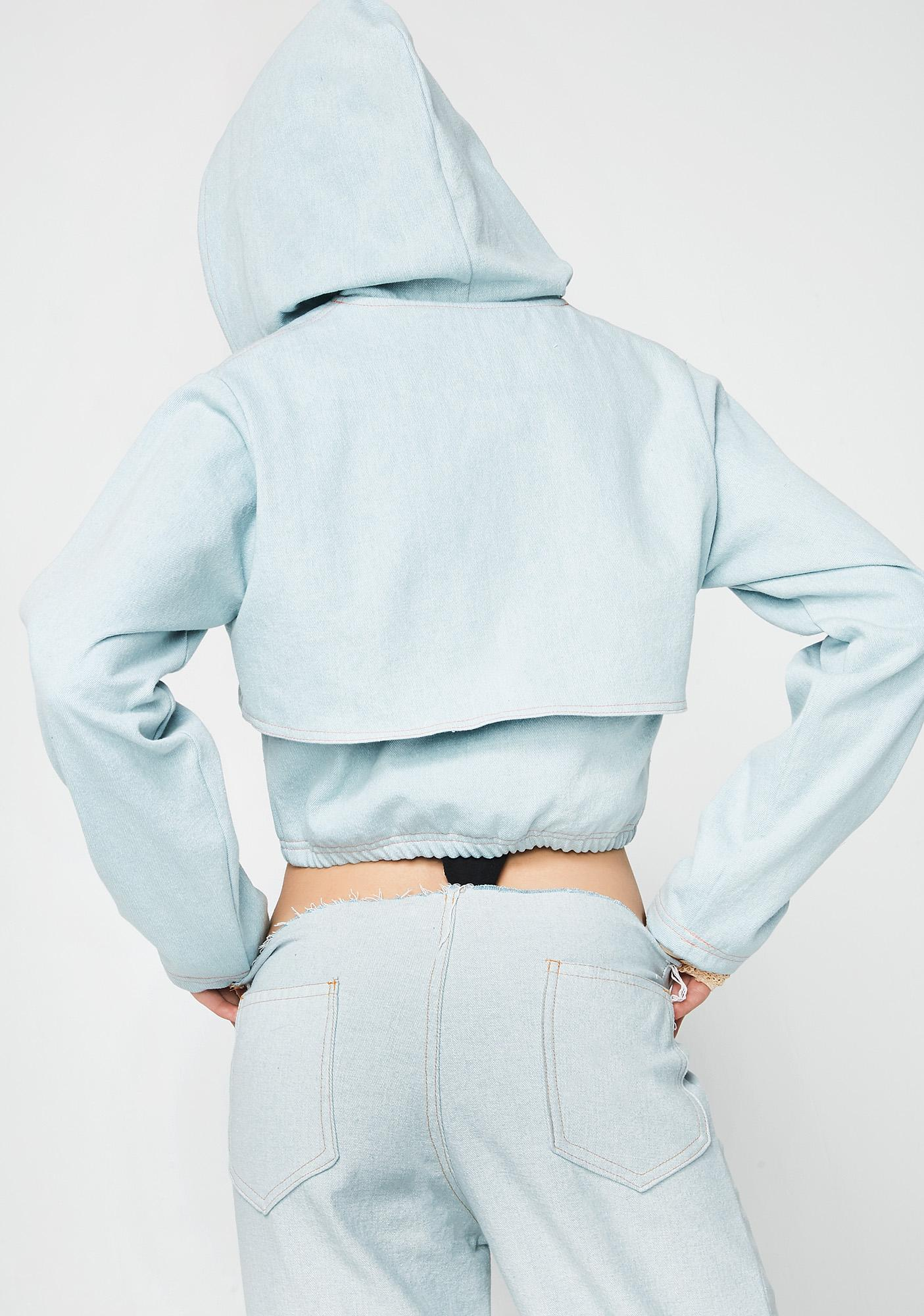 Whatever 21 Denim Double Crop Hoodie
