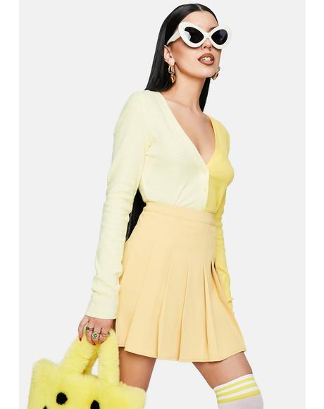 Yellow Pleated Tennis Mini Skirt