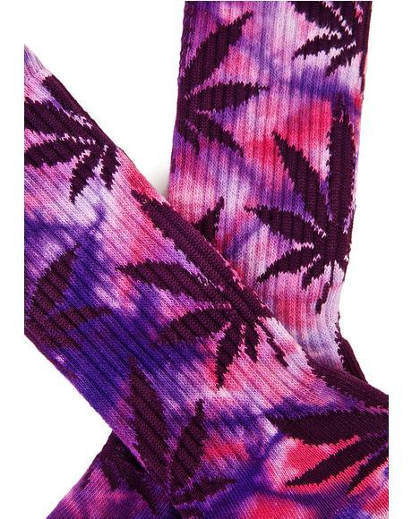 Purple Swag Tie Dye Plantlife Crew Sock