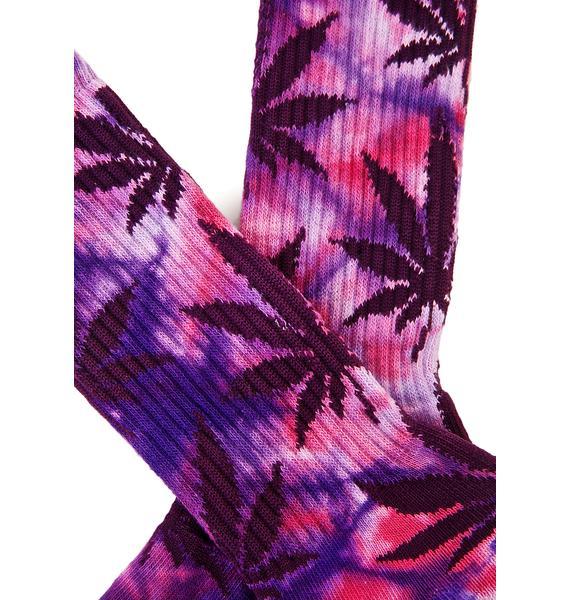 HUF Purple Swag Tie Dye Plantlife Crew Sock