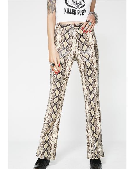 Beige Python Pants