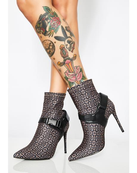 Cognac Combat Disorder Heeled Booties