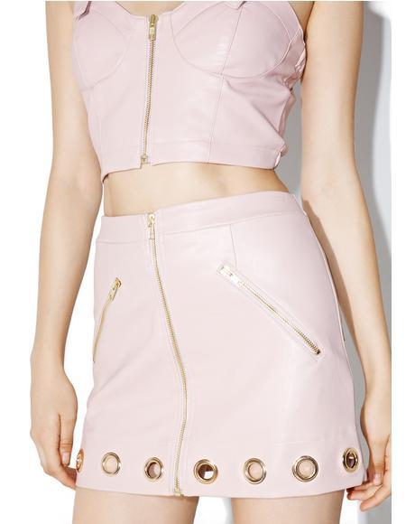 Gold Eyelet Mini Skirt