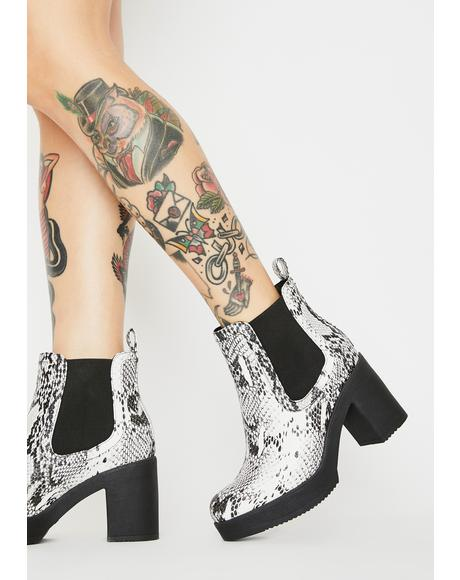 Chasing Prey Snakeskin Ankle Boots