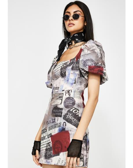 Newspaper Print Milkmaid Dress