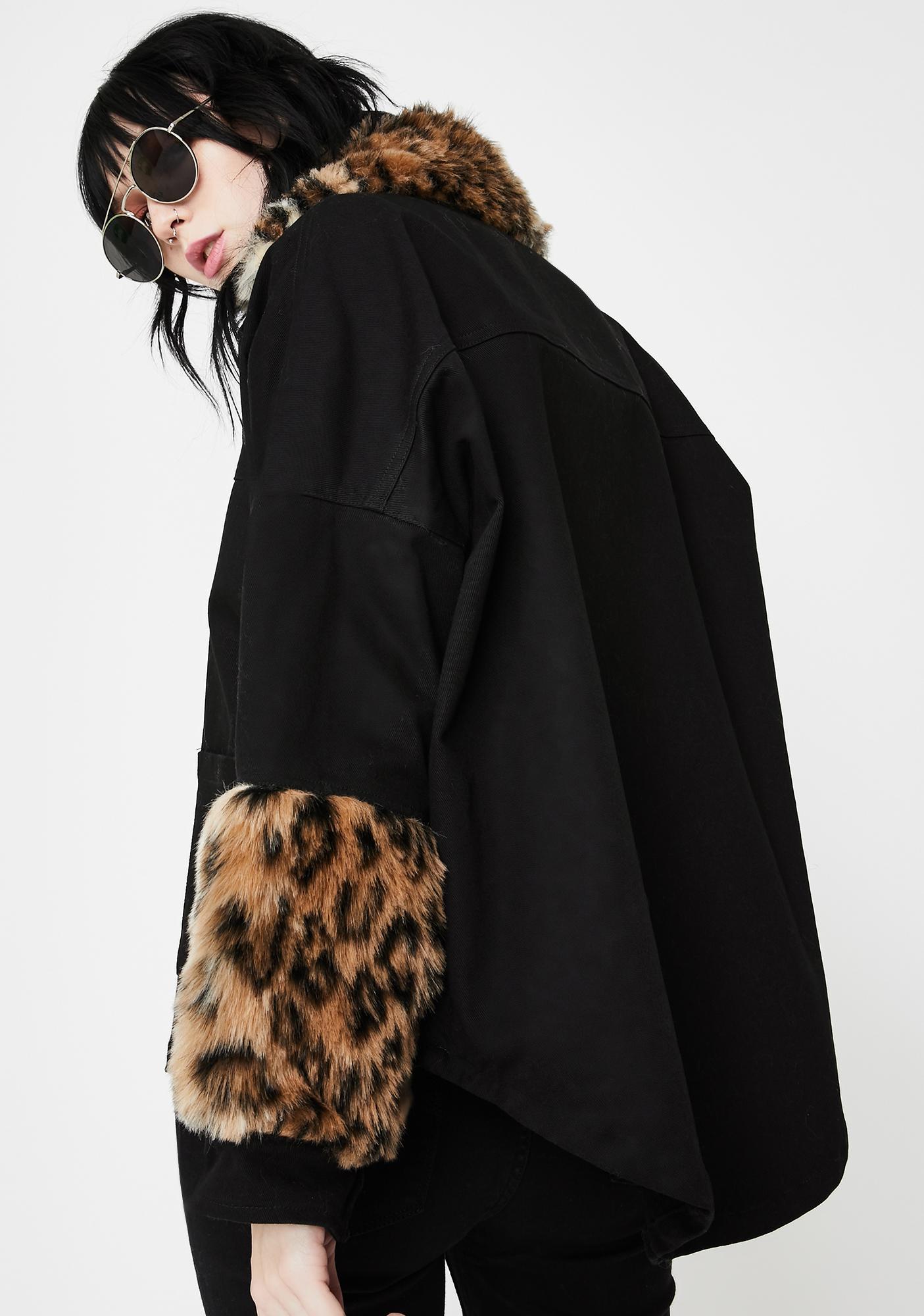 EastnWest  Leopard Fur Trim Denim Jacket
