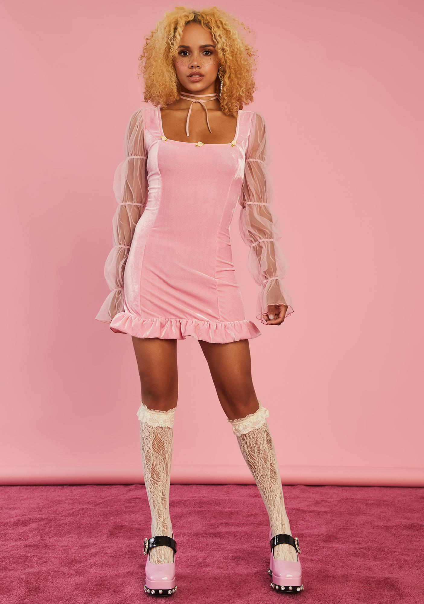 Sugar Thrillz Soft Spirit Velvet Mini Dress