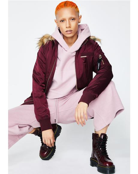 Burgundy Elongated Bomber