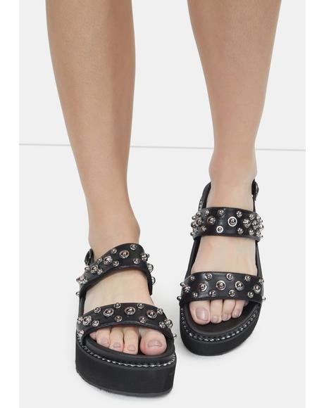 Night Outta My Shell Studded Sandals