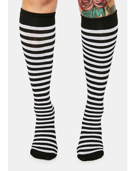 Wicked On The Scene Striped Knee High Socks