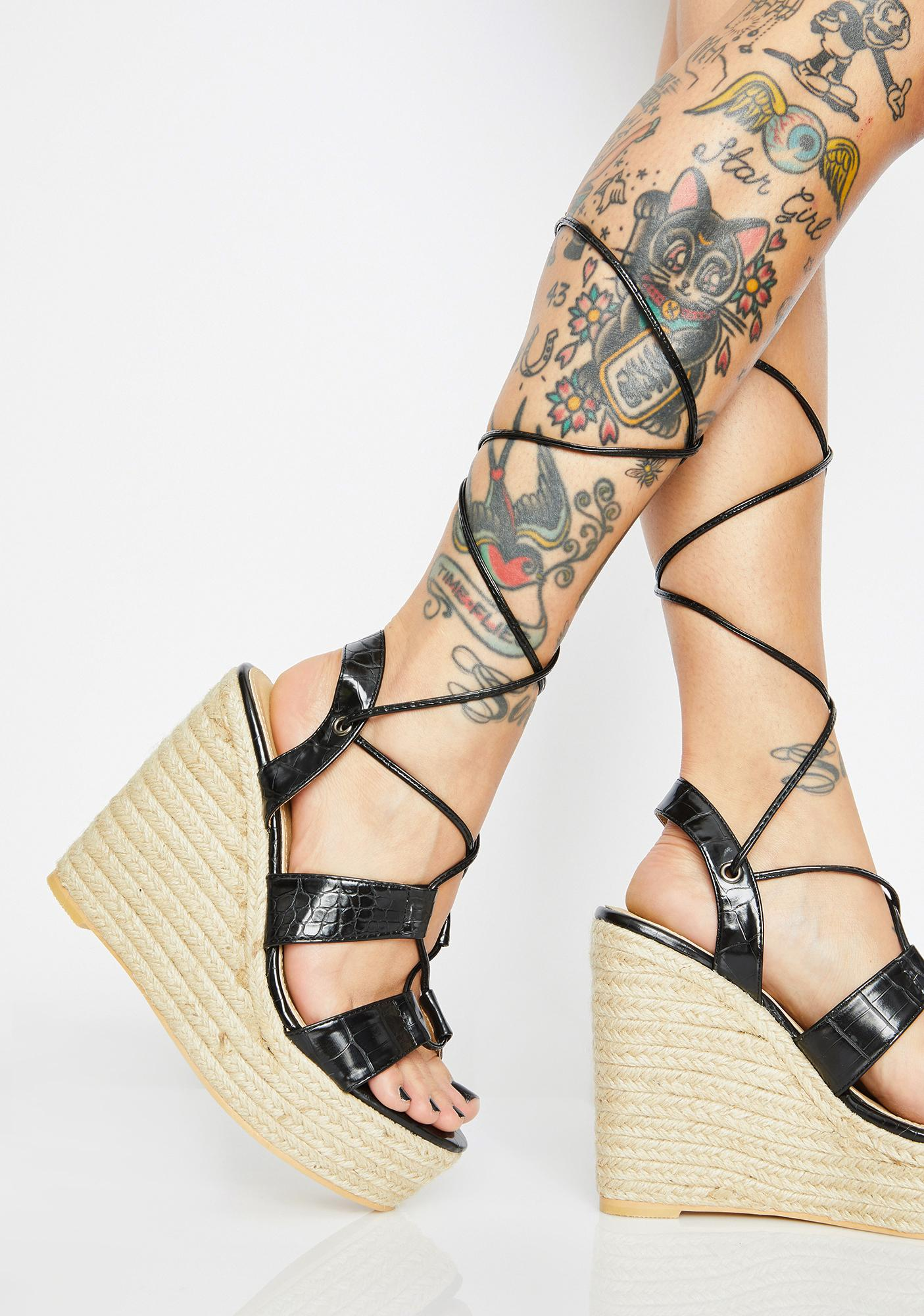 64424c5a97595 Wedge Heels Lace Up Patent | Dolls Kill