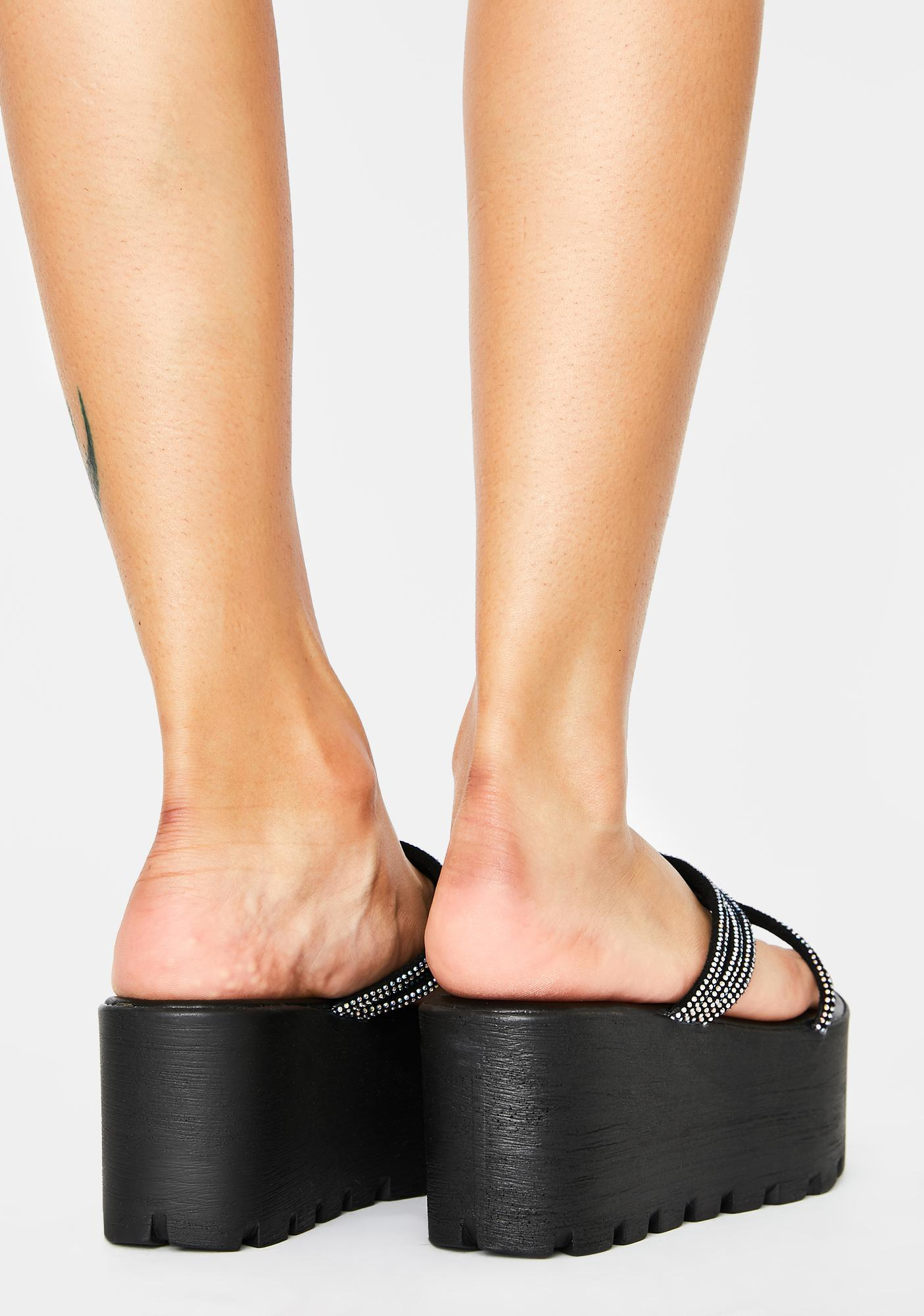 AZALEA WANG Black Toyama Platform Sandals