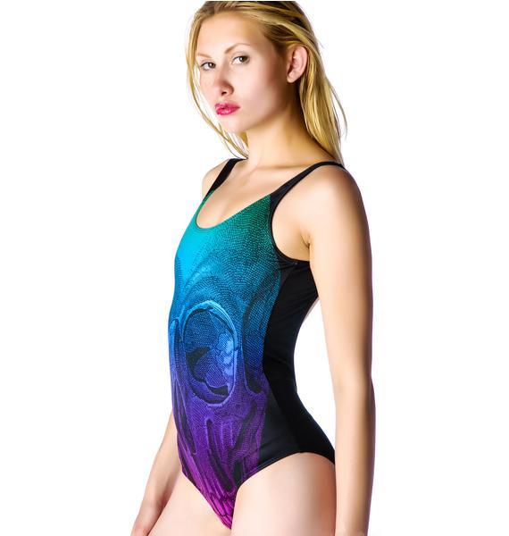 Too Fast Rainbow Skelly Exene Swimsuit