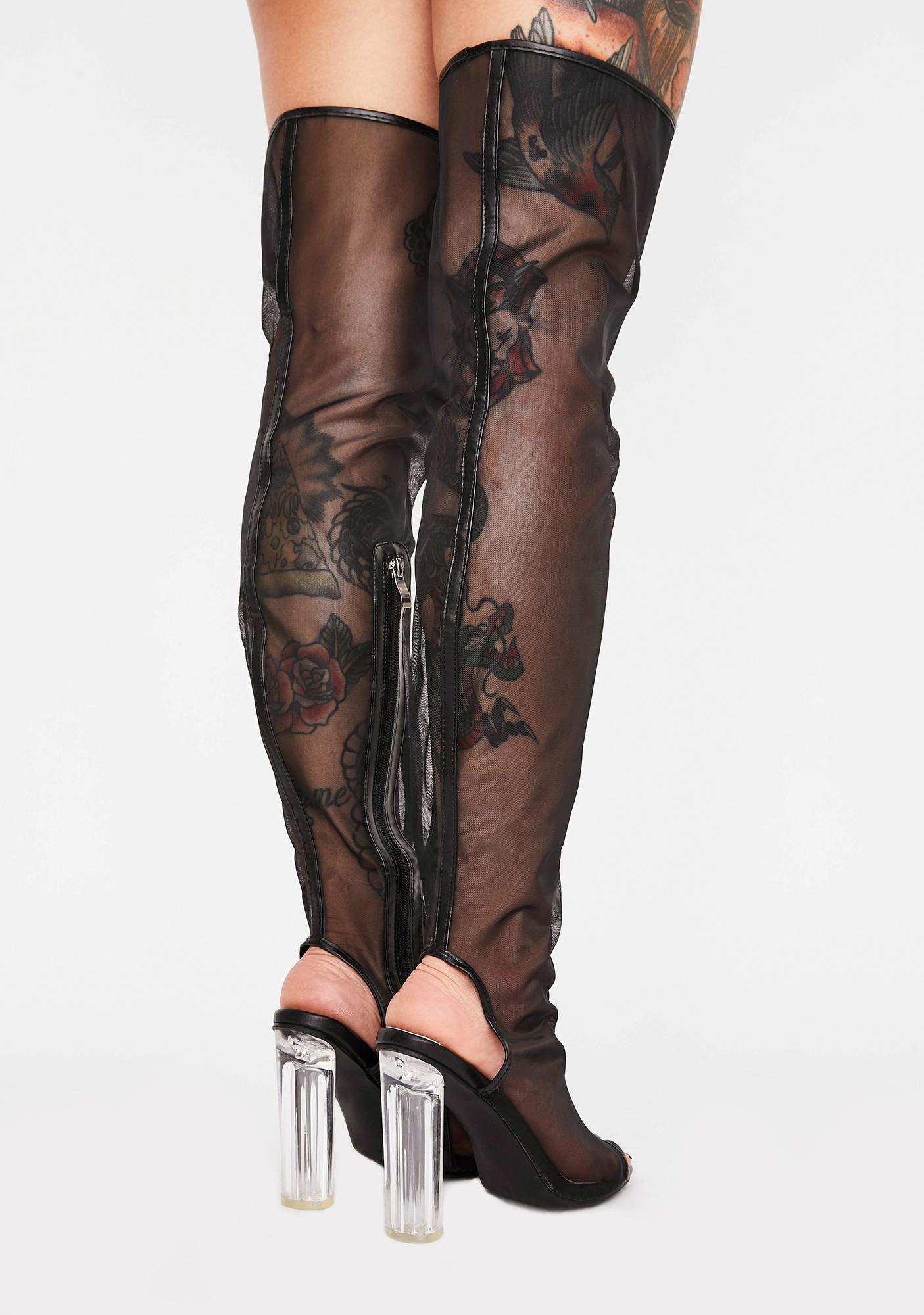 Impure Drama Shield Thigh High Boots