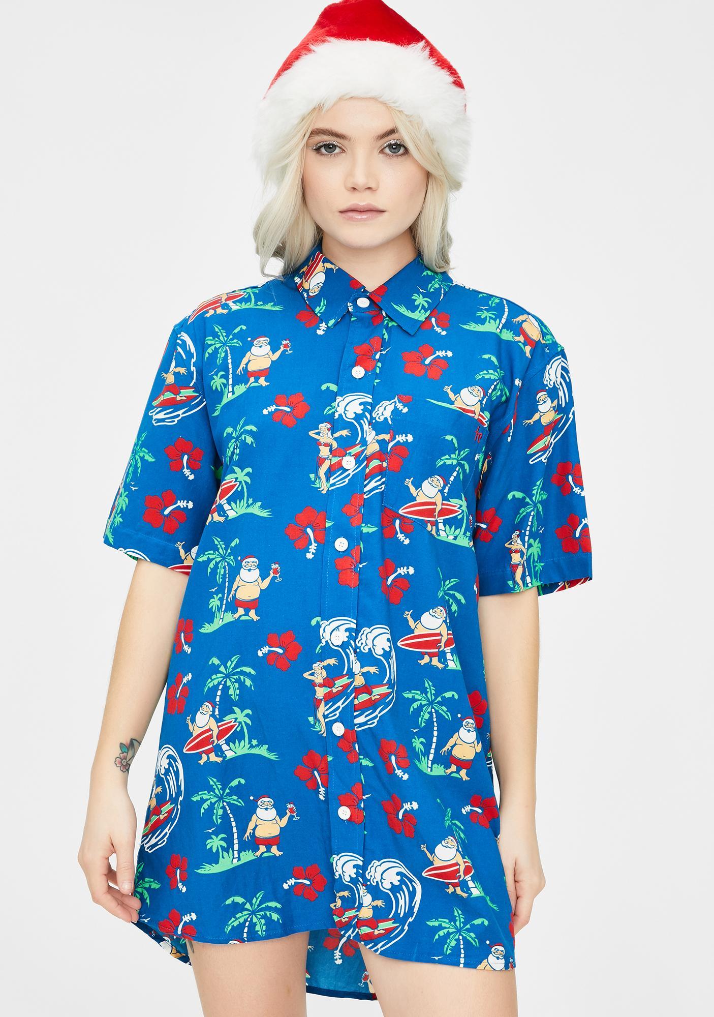 Tipsy Elves Surf's Up Santa Vacation Shirt