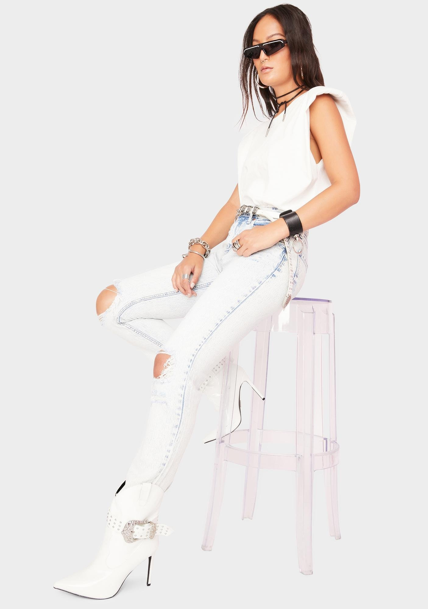 Daze Partly Cloudy Straight Up Distressed Denim Jeans