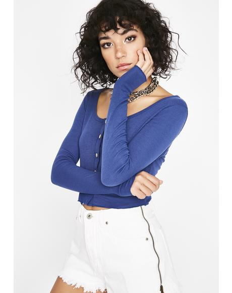 Ocean No Hard Times Henley Crop Top