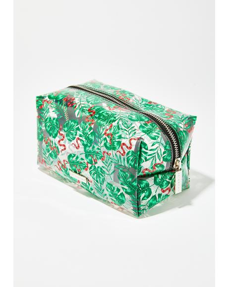 Snake And Palm Print Makeup Bag