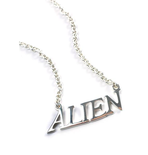 Disturbia Alien Nameplate Necklace
