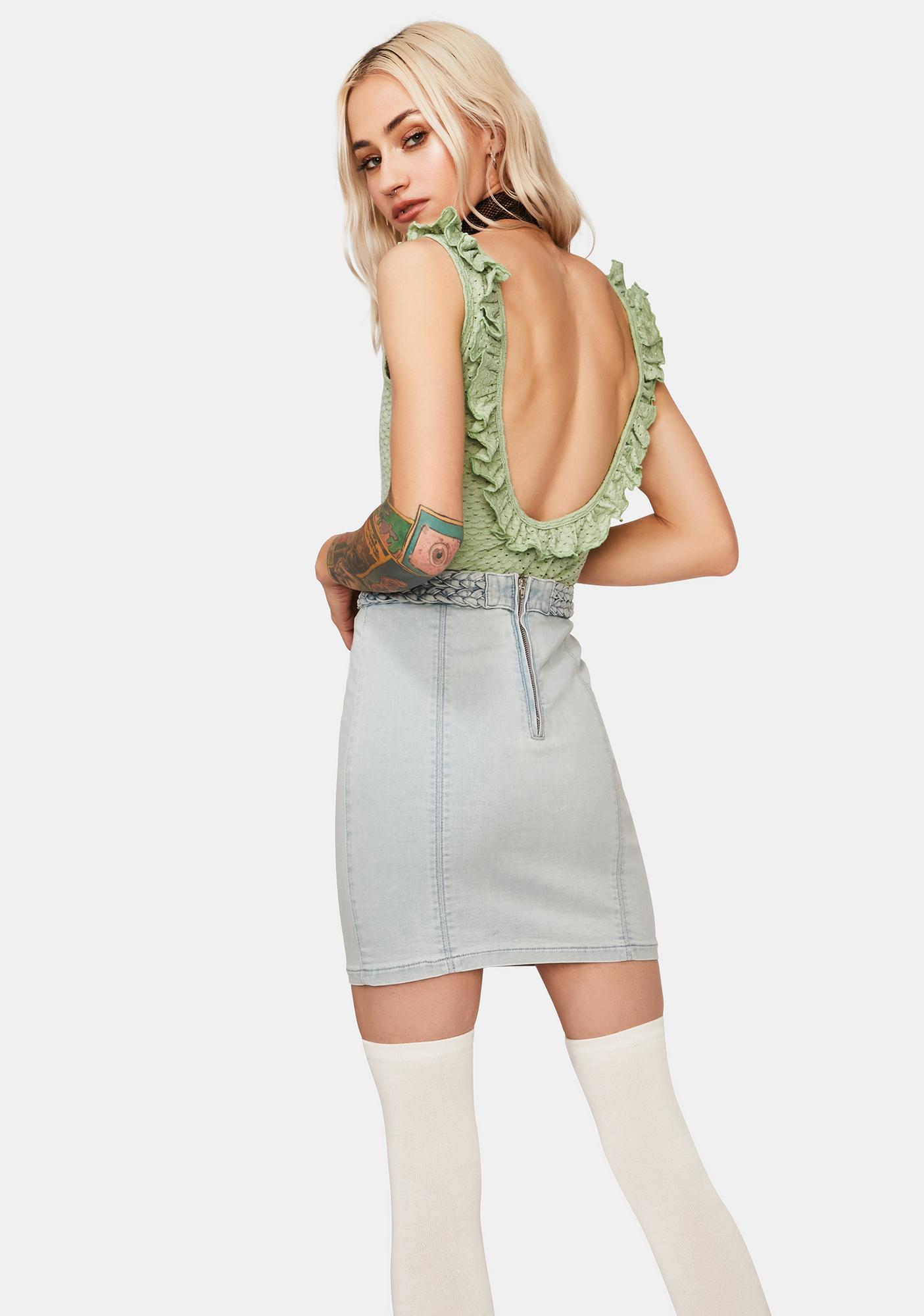 Mink Pink Sage Holly Frill Bodysuit