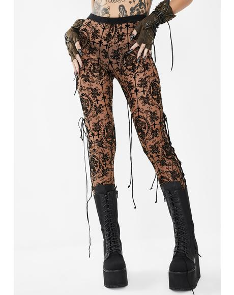 Opaque Lace Skinny Pants