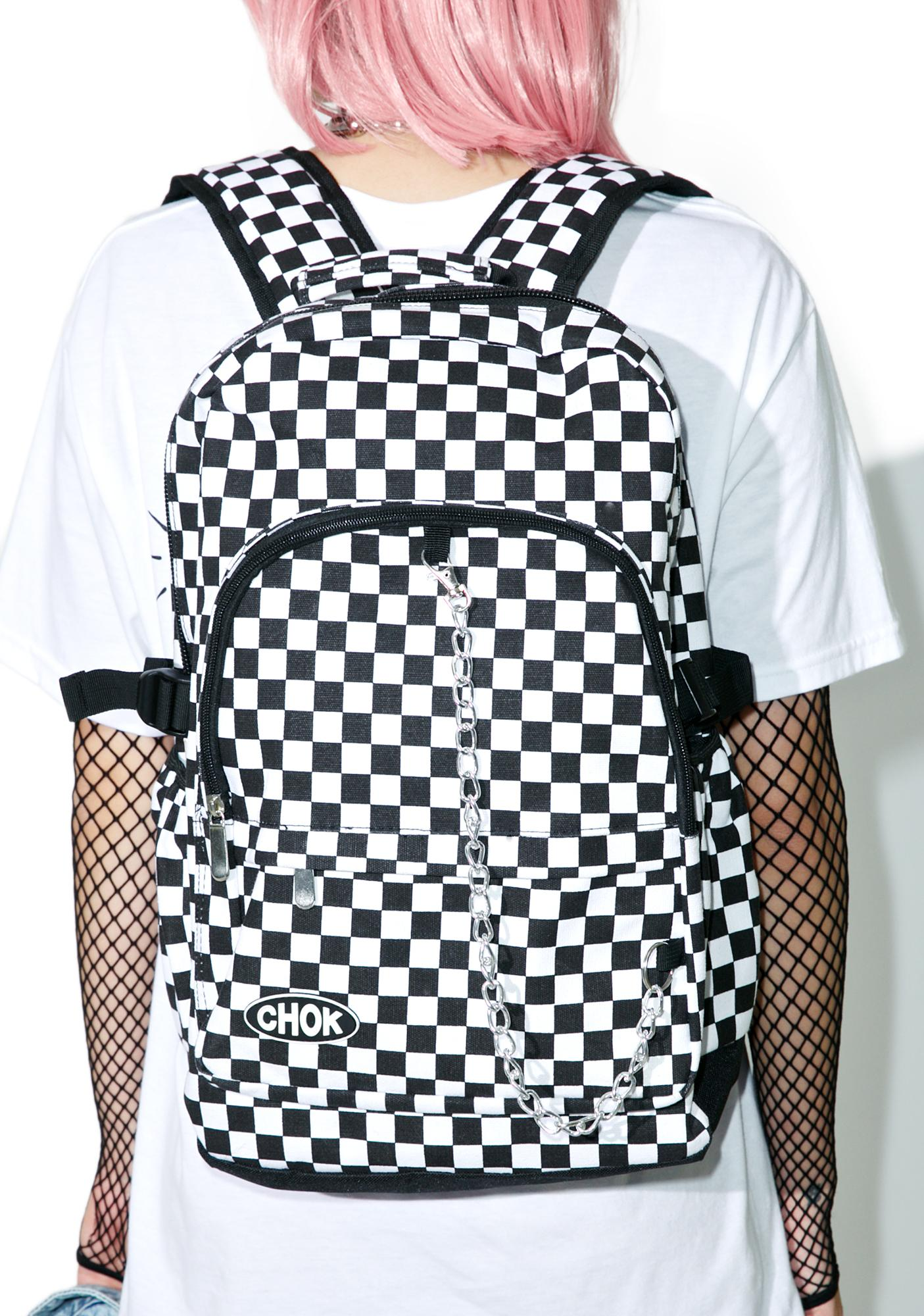 Grid System Checkered Backpack
