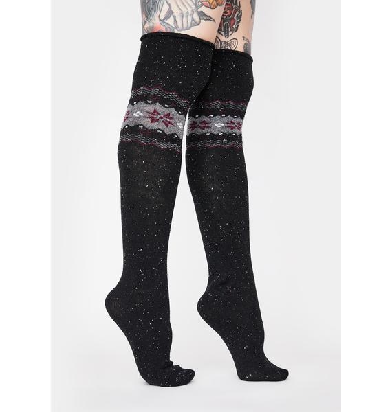 MeMoi Black Nordic Sparks Over The Knee Socks