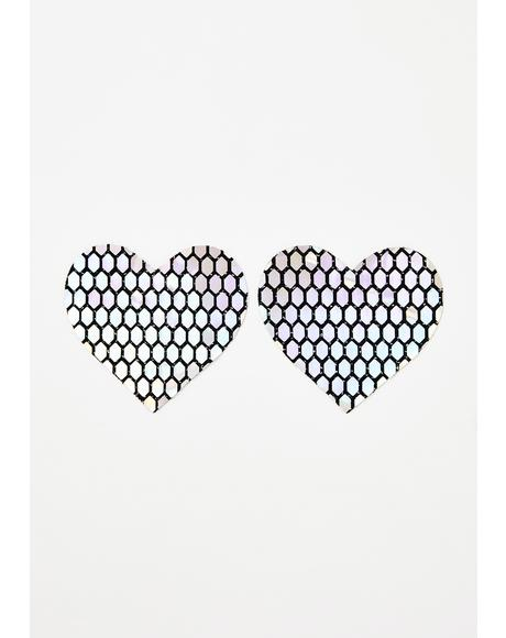 Mirrored Holographic Heart Pasties