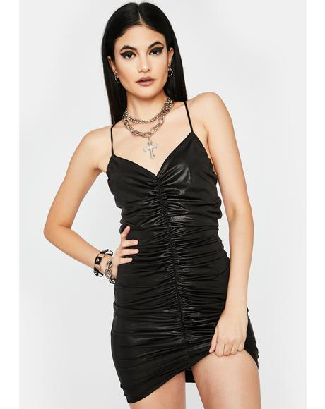 Midnight City Slicker Ruched Mini Dress