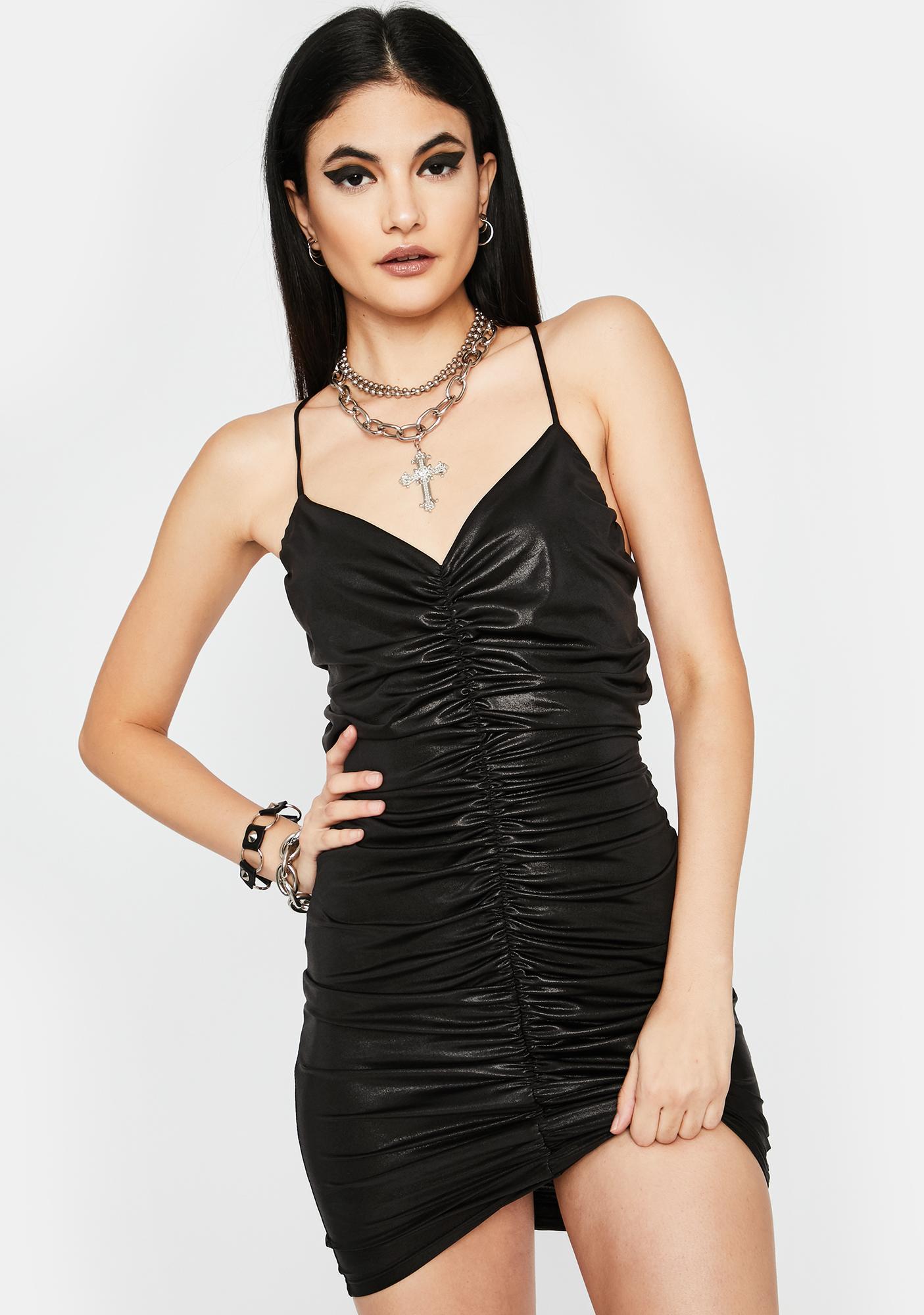 Midnight City Slicker Ruched Mini Dress