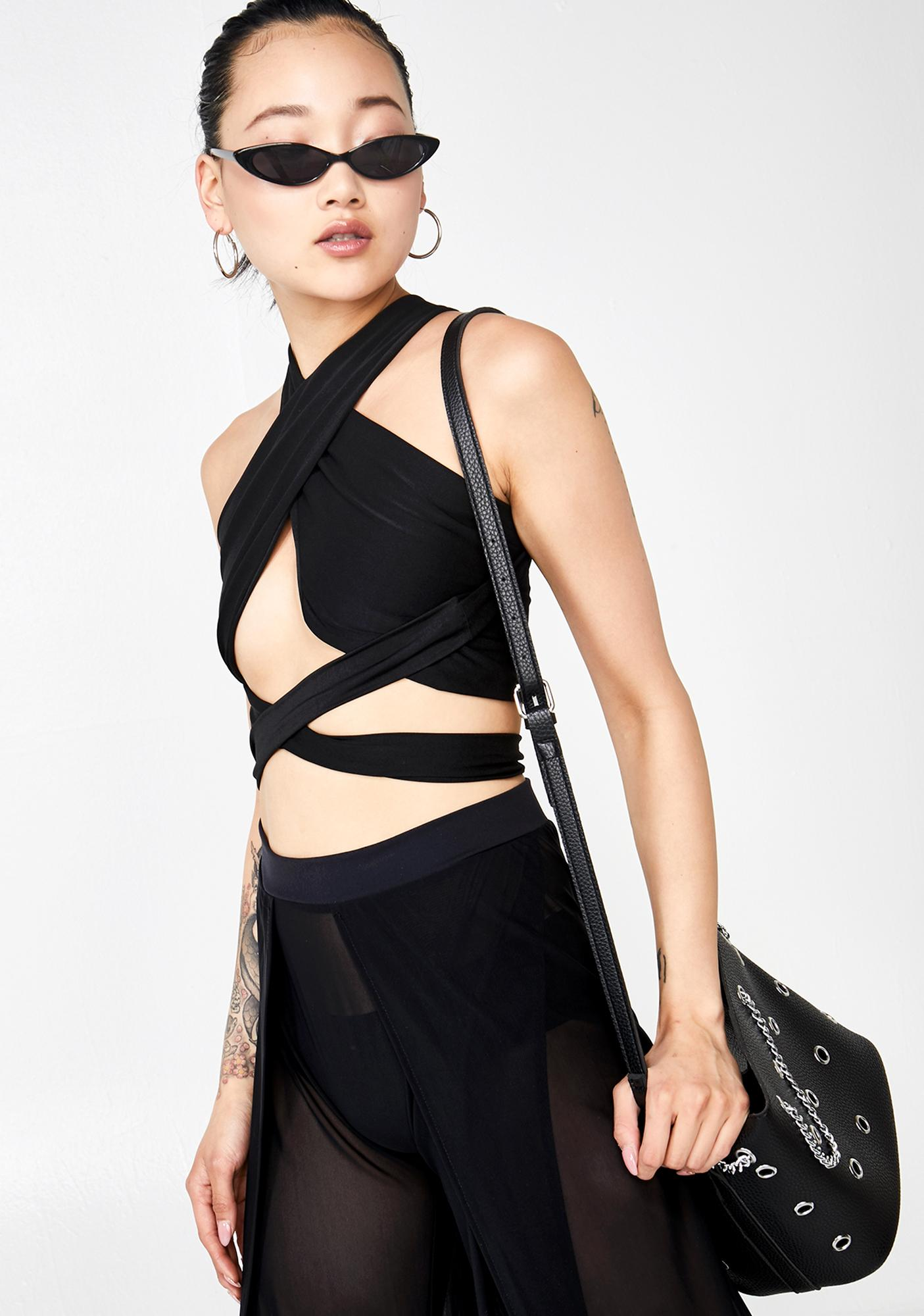 Plugged NYC Strap Wrap Top