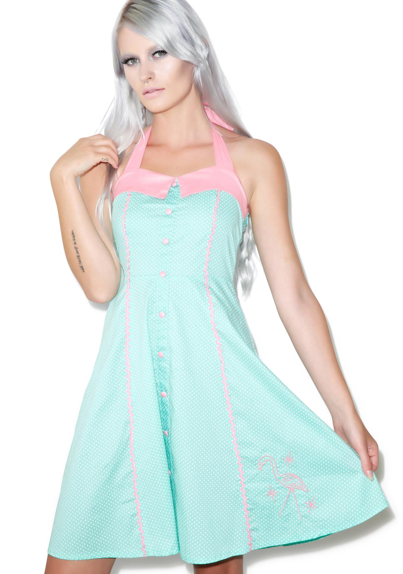 Sourpuss Clothing Peggy Pink Flamingo Dress  Dolls Kill