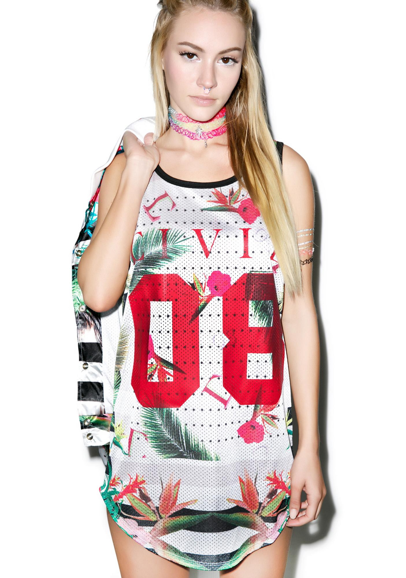 Civil Clothing Floral Mesh Drop BBall Tank