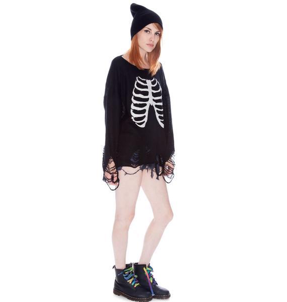Wildfox Couture Lennon Sparkly Skeleton Sweater