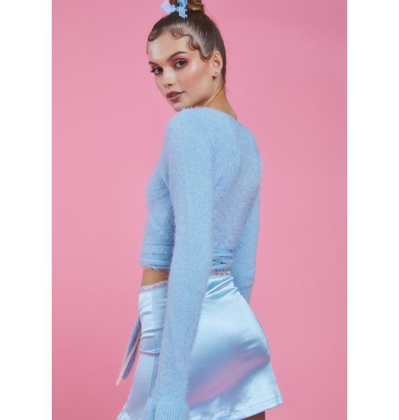 Sugar Thrillz Aqua Cherish My Love Wrap Sweater