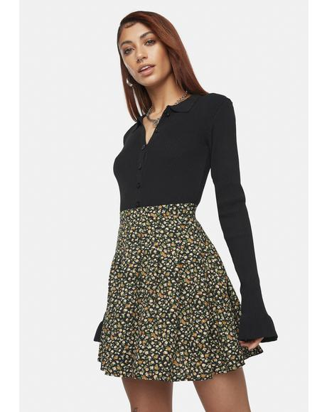Emily Floral Pleated Skirt