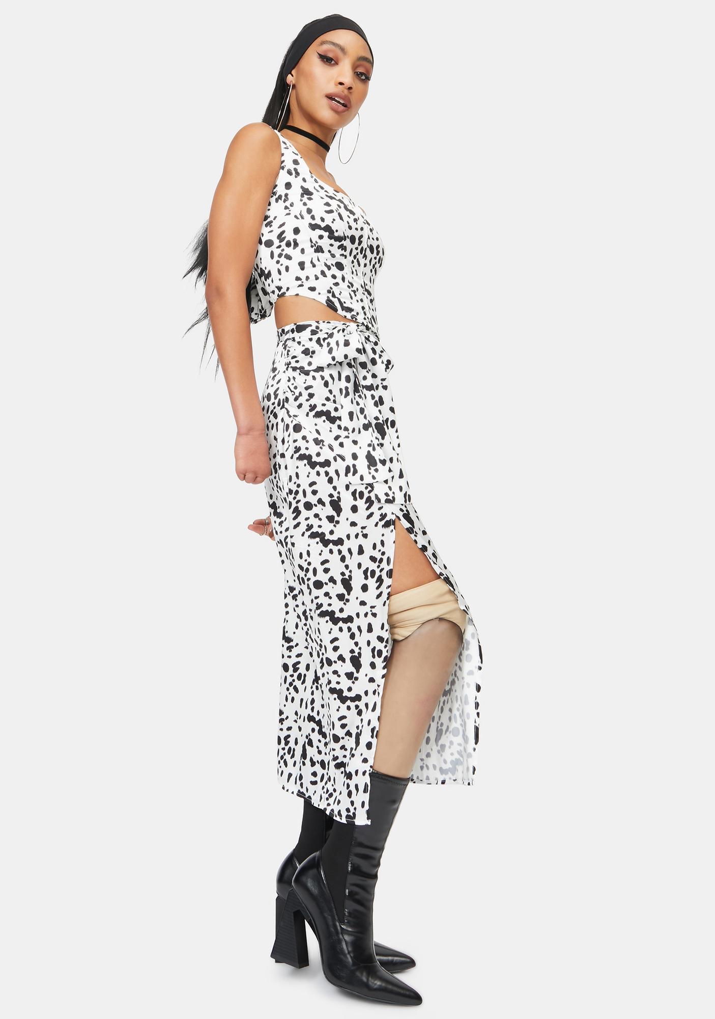 RARE LONDON Dalmatian Wrap Midaxi Skirt