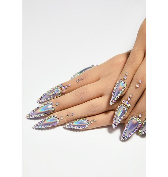 Unicorns Poop Glitter Holographic Nail Gloves