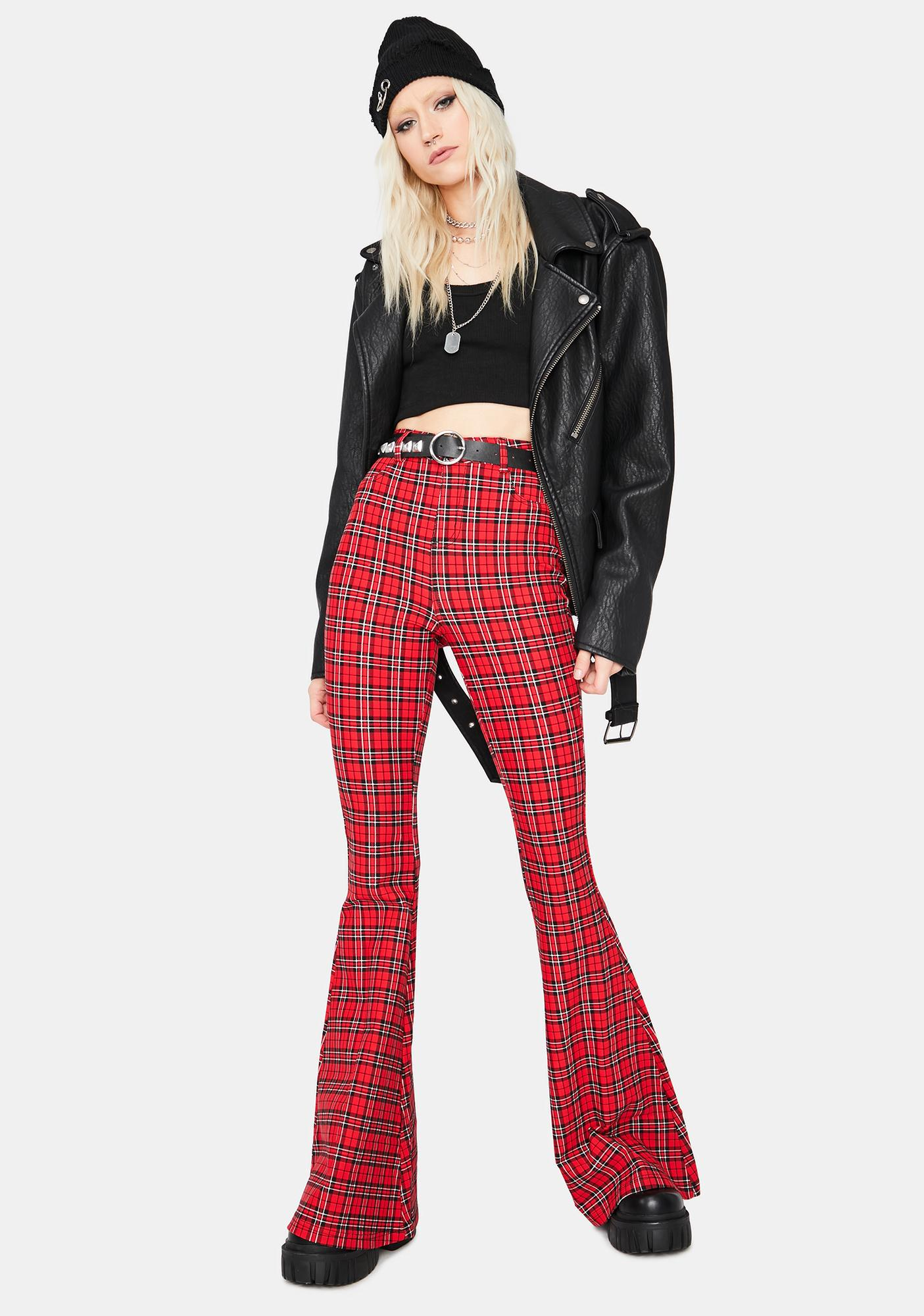 Mystery Busted Plaid High Waisted Flares