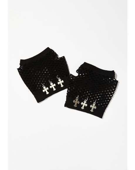 Bless Your Heart Fishnet Gloves