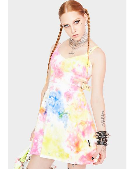 Tie Dye Side Cut Out Dress