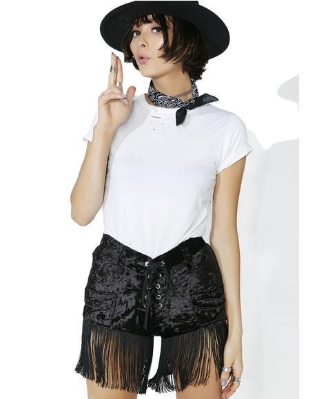 Velvet Fringe Shorts