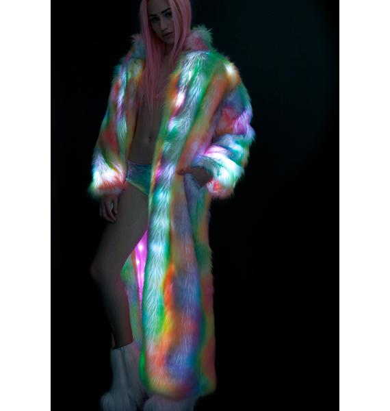 J Valentine Rainbow Flashing Lights Long Coat