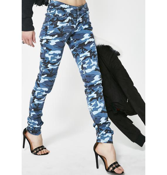 Tripp NYC Blue Camo Skinny Jeans