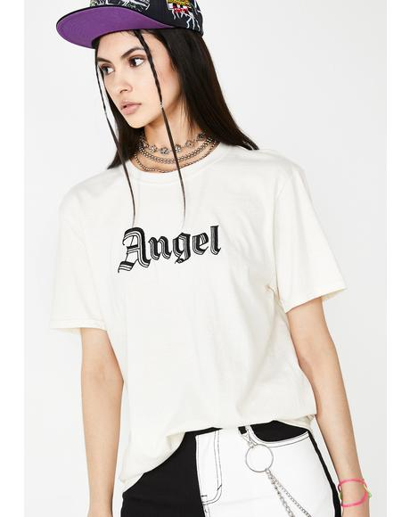 Embroidered Angel Graphic Tee