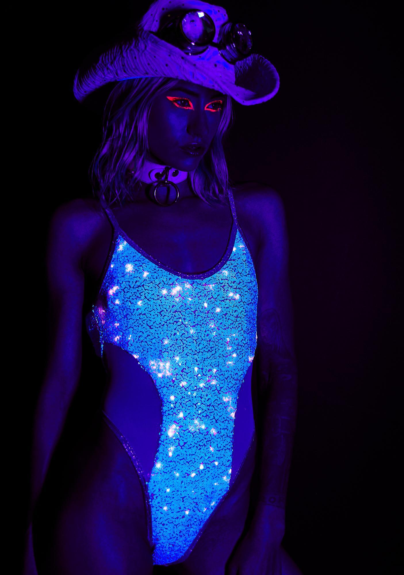 J Valentine Lavender Dreams Light Up Sequin Bodysuit