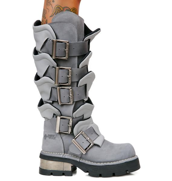 New Rock Valhalla Armor Buckle Boots