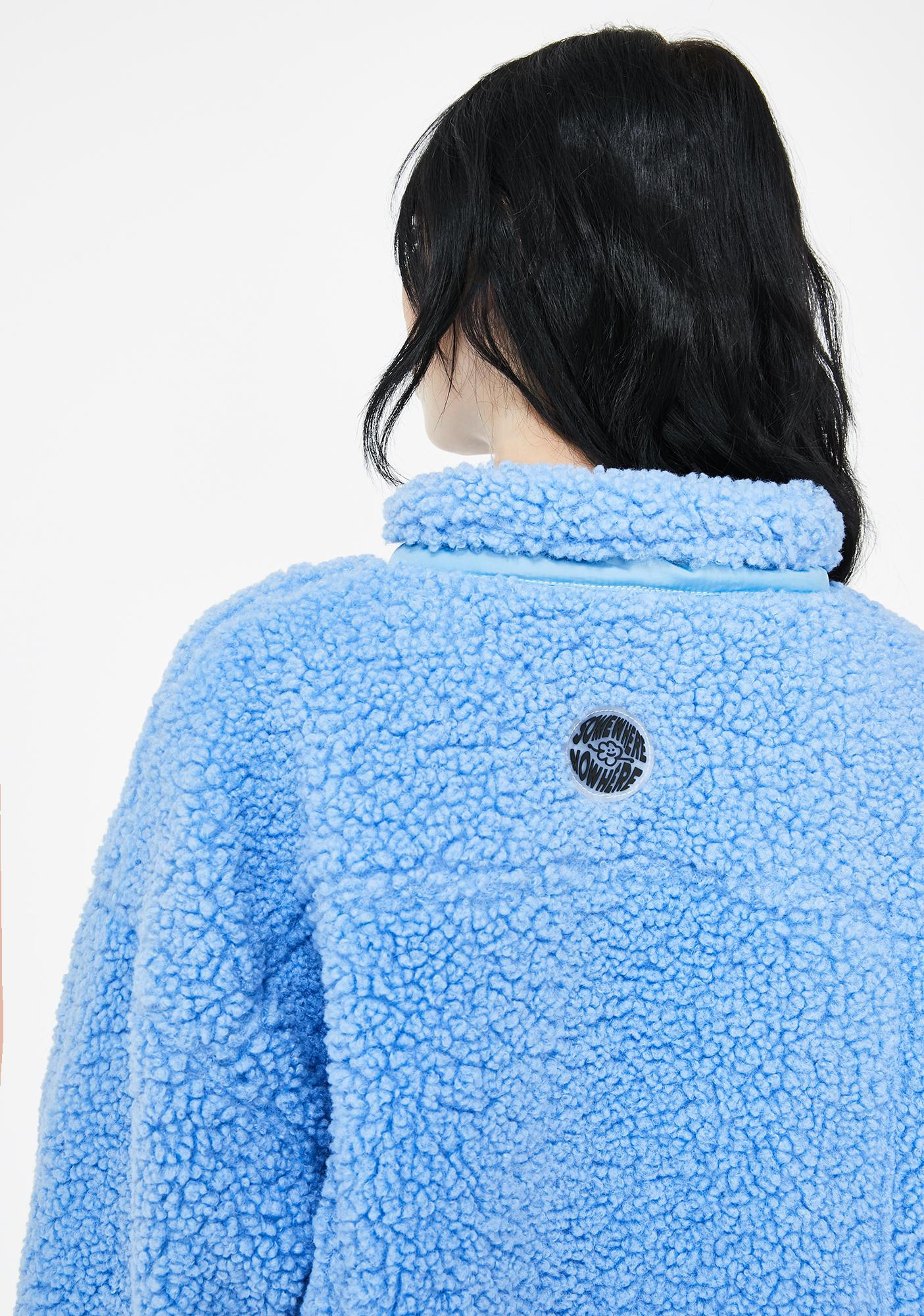 Somewhere Nowhere Blue Zipper Sherpa Pullover