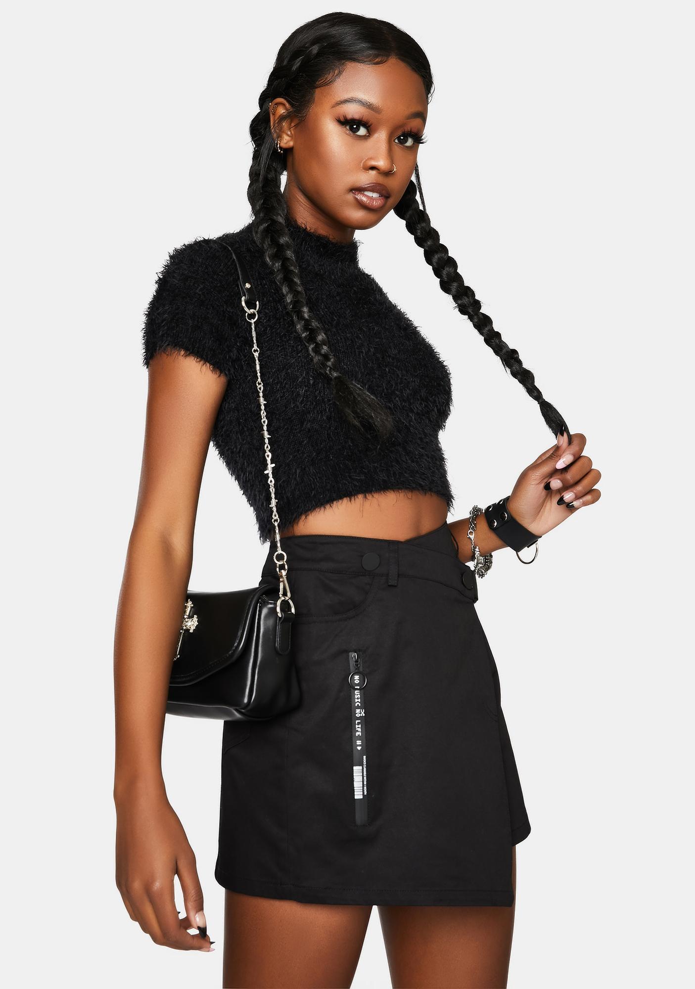 Punk Rave Asymmetrical Tailored Inclined Zipper Skirt